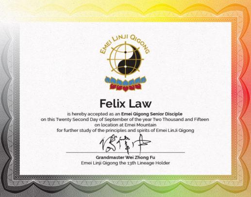 FelixLaw Emei Qigong Discipleship Certificate